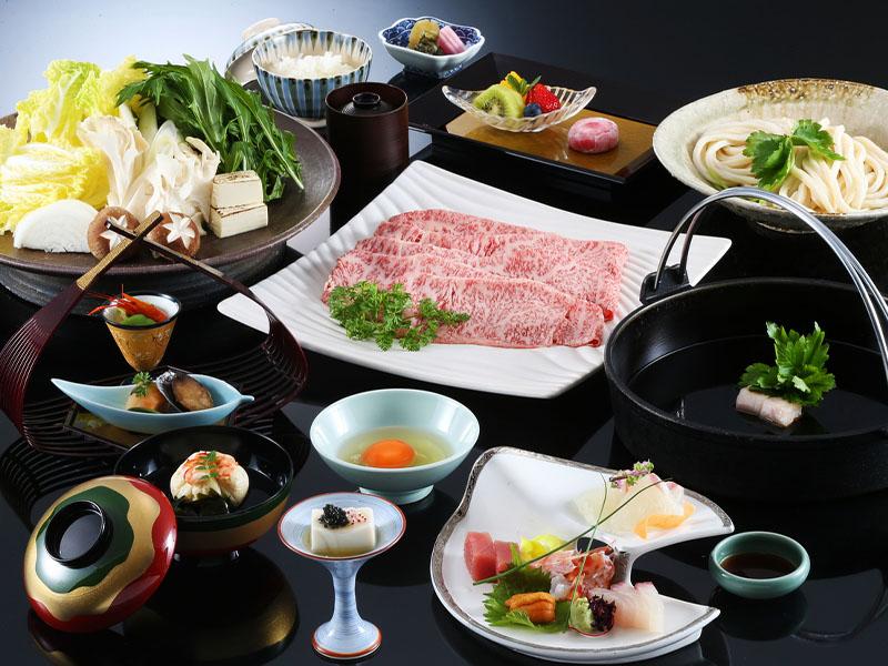 神戸牛すき焼き会席の一例